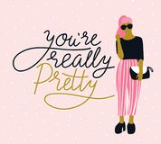 Pretty young woman in sunglasses with handwritten lettering `You`re really pretty`, pink polka dot background. Vector illustration vector illustration