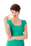Pretty young woman with sunglasses in her hand Royalty Free Stock Photo