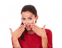 Pretty young woman with surprised gesture Royalty Free Stock Photos