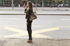 Pretty young woman talking on the mobile phone. Young woman talking on the mobile phone on the city street Stock Image