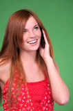 Pretty young woman talking phone Stock Photo