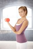 Pretty young woman using dumbbell Stock Photography