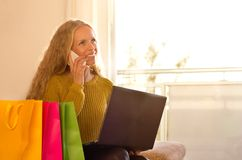Girl shooping online with card at home Stock Photography