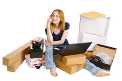 Pretty young woman using online stores Royalty Free Stock Images