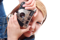 Pretty young woman with vintage camera Royalty Free Stock Photo