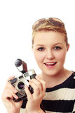 Pretty young woman with vintage camera kit Stock Images