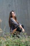 Pretty young woman wear high black socks and long shirt Stock Photos