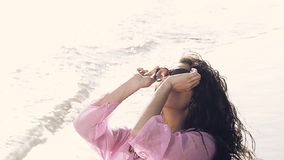 a pretty young woman wearing sunglasses stock footage