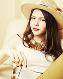 Pretty young woman wearing sunglasses and summer hat, fashion li Royalty Free Stock Images