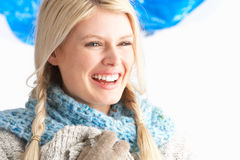Pretty Young Woman Wearing Warm Winter Clothes Royalty Free Stock Photo