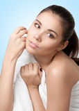 Pretty young woman wearing white towel Royalty Free Stock Photography