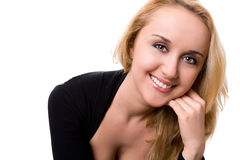 Pretty young woman on a white. Background stock image