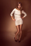 Pretty Young Woman in White Sexy Dress Royalty Free Stock Photos