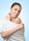 Pretty young woman with white towel Stock Photography