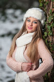 Pretty young woman in a winter fashion shot Royalty Free Stock Photography