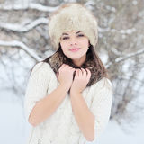 Pretty young woman in winter hat close up Stock Photography