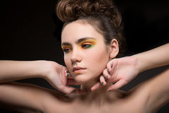Pretty Young Woman With Bright Colorful Makeup. Sensuality & Elegance Royalty Free Stock Images