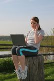 Pretty Young Woman Working Outdoor Stock Images