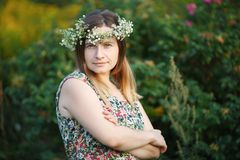 Pretty young woman with wreath on head Royalty Free Stock Photo