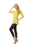 Pretty young woman in yellow blouse isolated on Royalty Free Stock Photography