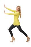 Pretty young woman in yellow blouse isolated on Stock Photography