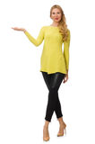 Pretty young woman in yellow blouse isolated on Stock Photos