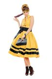 Pretty young woman in yellow dress Stock Photography