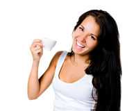 Pretty young women with the cup of coffe Stock Image