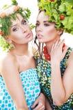 Pretty young women posing stock photos
