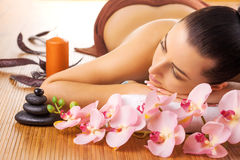 Pretty young women relaxing in the spa salon Stock Photo