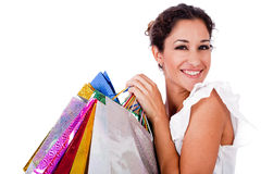 Pretty young women smiling with shopping bag Royalty Free Stock Image