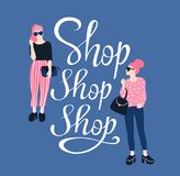 Pretty young women in sunglasses with handwritten lettering `Shop Shop Shop`. Vector illustration poster. royalty free illustration