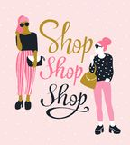 Pretty young women in sunglasses with lettering `Shop Shop Shop`. Vector illustration. royalty free illustration