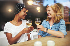 Pretty young women toasting each other Royalty Free Stock Photo