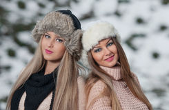 Pretty young women in a winter fashion shot. Attractive young women in a winter fashion shot.Winter wild girls on snow.Winter Girls with beautiful make up, and Royalty Free Stock Image