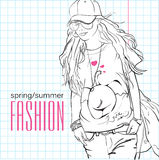 Prety fashion girl in sketch style. Royalty Free Stock Images