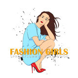 Prety fashion girl in sketch style. Royalty Free Stock Photography