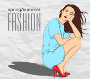 Prety fashion girl in sketch style. Royalty Free Stock Photos