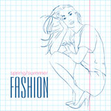 Prety fashion girl in sketch style. Stock Photo