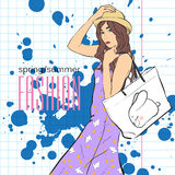 Prety fashion girl in sketch style. Stock Photography