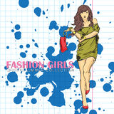 Prety fashion girl in sketch style. Royalty Free Stock Image