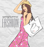 Prety fashion girl in sketch style. Stock Images