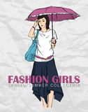 Prety fashion girl in sketch style. Stock Image