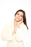 Prety girl in a robe on white background. Prety girl in a robe on a white background Stock Image