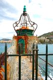 A prety lighthouse in the harbour of Collioure. In the south of France Royalty Free Stock Images