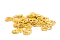 Pretzeis dos biscoitos em um fundo branco Imagens de Stock