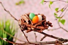 Pretzel σοκολάτας Πάσχας φωλιές στοκ φωτογραφία με δικαίωμα ελεύθερης χρήσης
