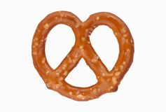 Pretzel. A single salted brown pretzel against a clean white background Stock Image