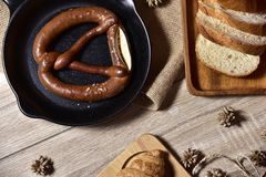Focus food ,Bread freshly baked specialty pretzel royalty free stock image