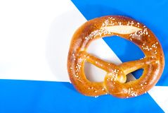 Pretzel on Bavarian flag Stock Photo